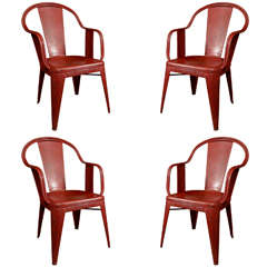 Set of 4 French Red Tolix Chairs