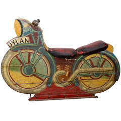1950s Wooden and Cast Iron Coney Island Motorcycle Carousel Ride