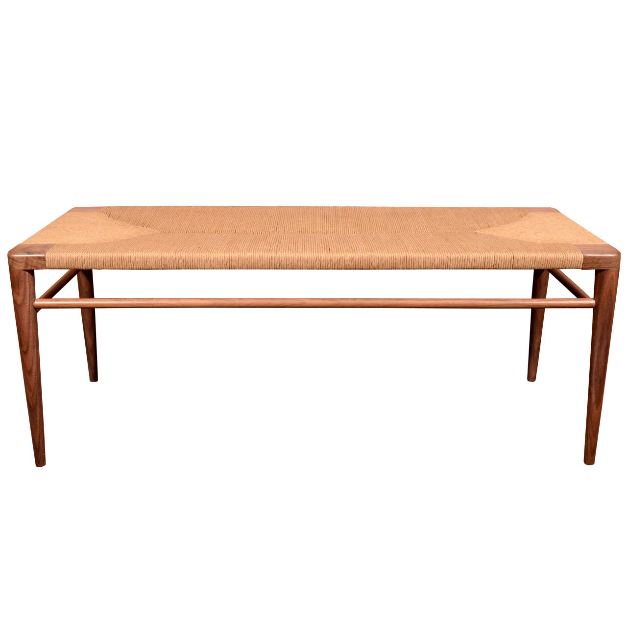 Hand Woven Rush Bench By Smilow Design At 1stdibs