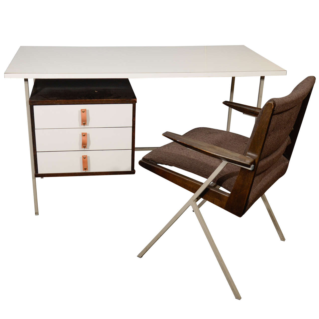 knoll and drake desk and chair at stdibs - knoll and drake desk and chair