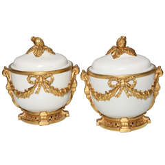 Pair of Fine Antique French Louis XVI Style Porcelain Fruit Coolers