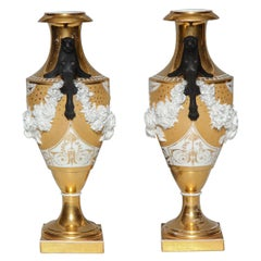 Rare Pair of Neoclassical Porcelain Vases, Possibly Russian, Early 1800s