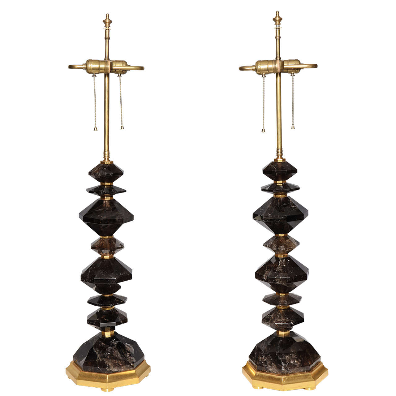 Fine Pair of Smoky Rock Crystal Quartz Table Lamps