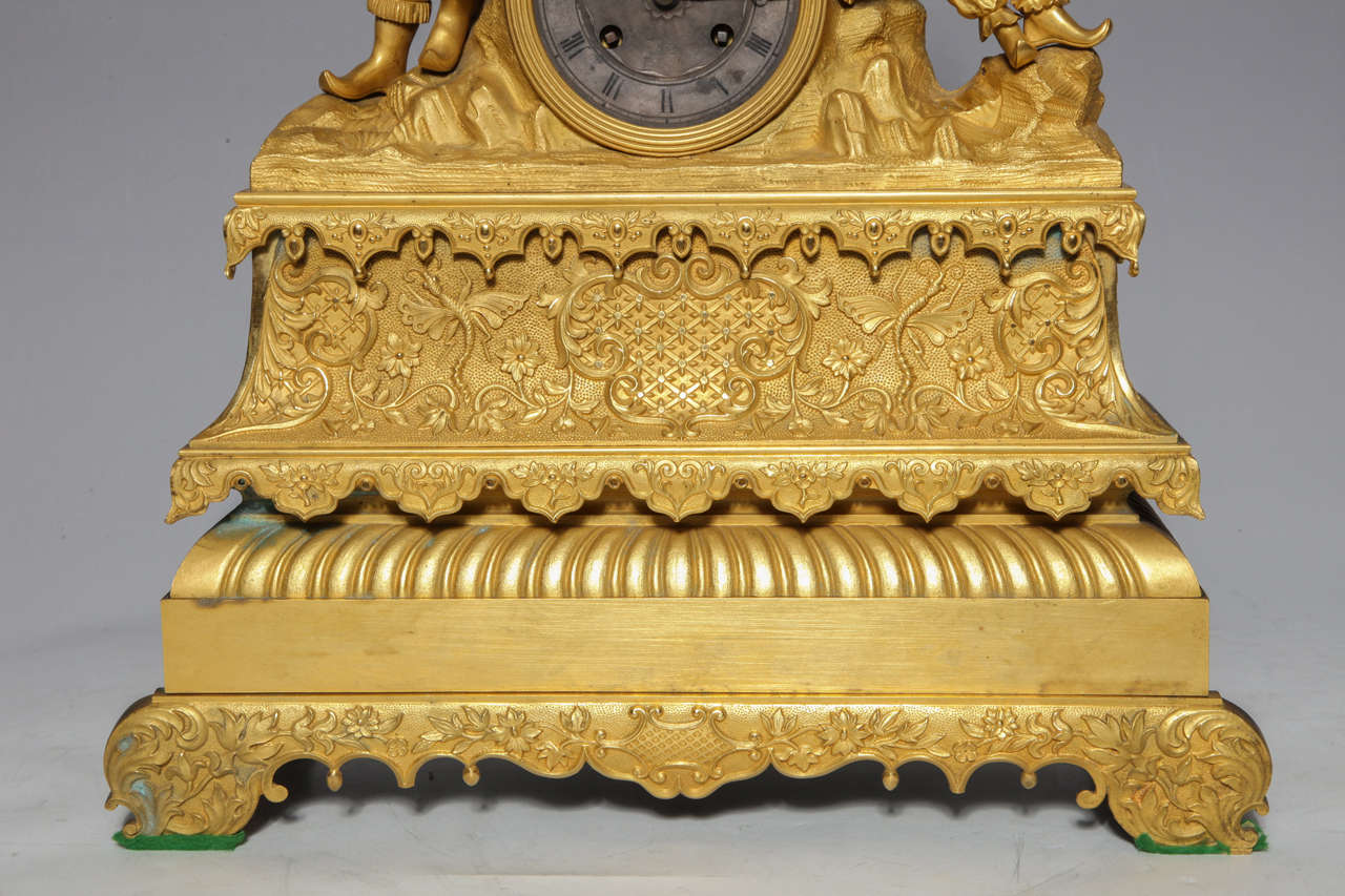 19th Century Unusual French Gilt Bronze Chinoiserie Clock of Lovers For Sale