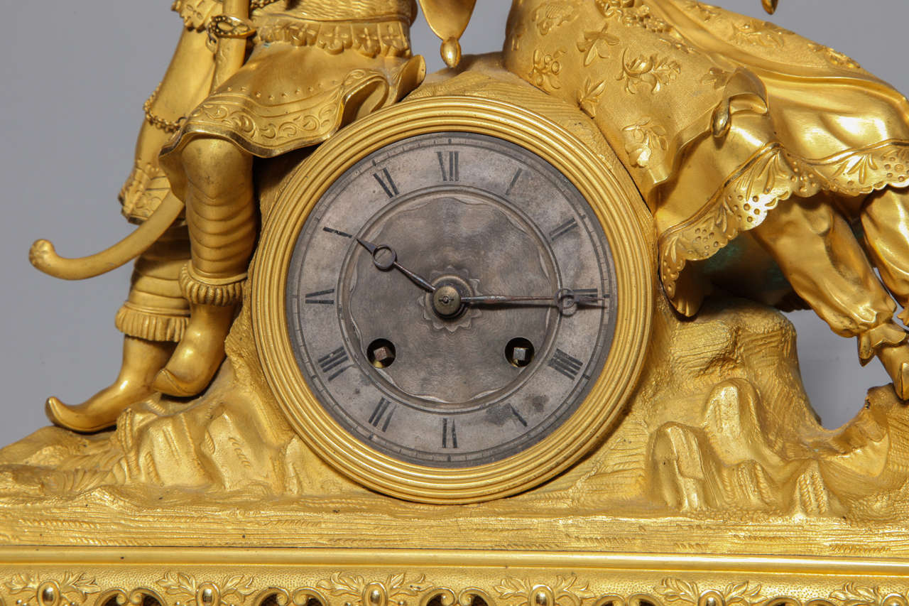 Ormolu Unusual French Gilt Bronze Chinoiserie Clock of Lovers For Sale