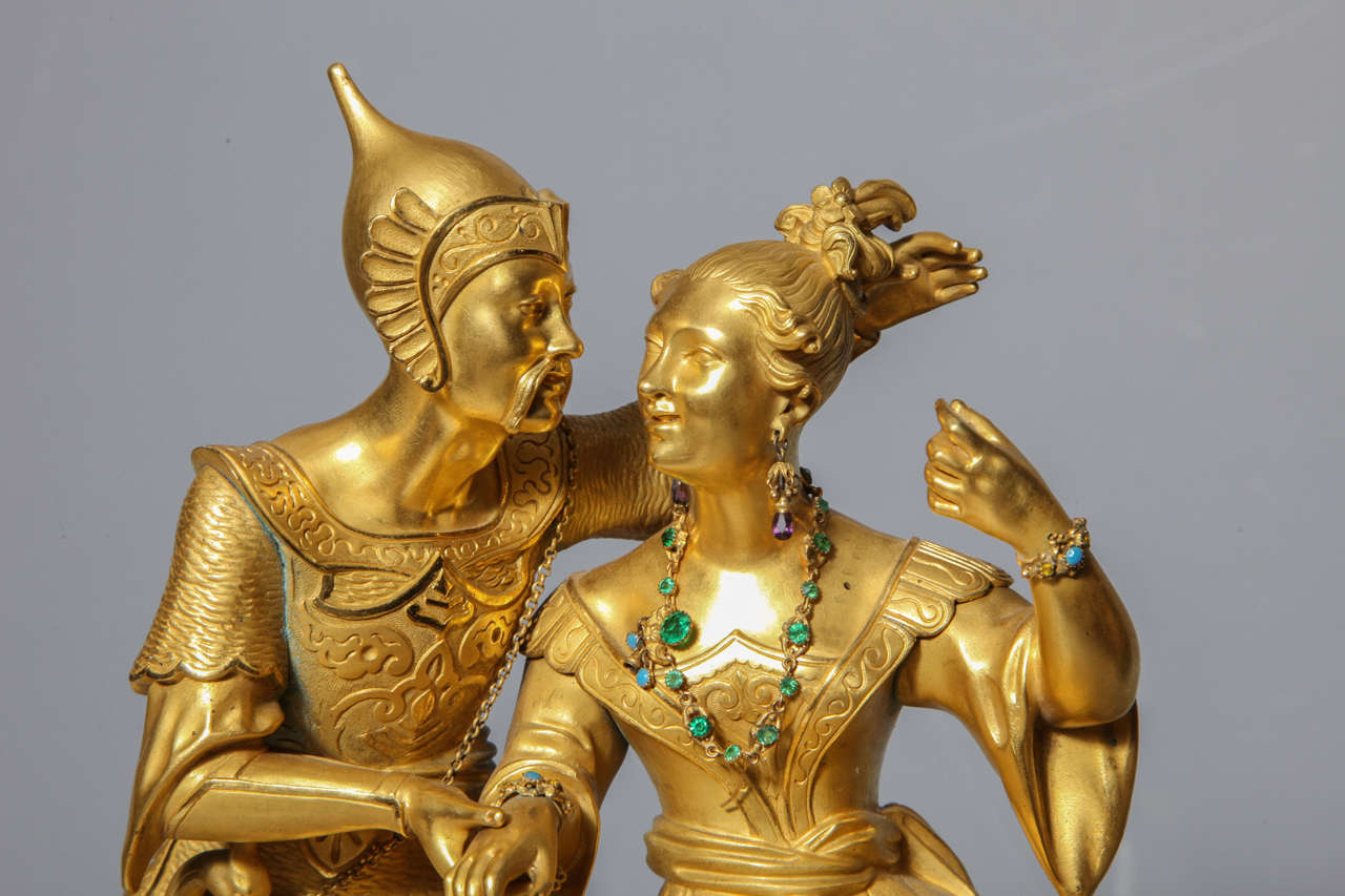Unusual French Gilt Bronze Chinoiserie Clock of Lovers For Sale 1
