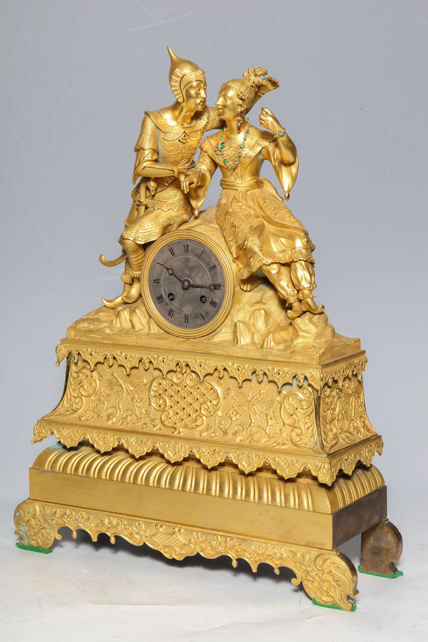 Unusual French Gilt Bronze Chinoiserie Clock of Lovers For Sale 2
