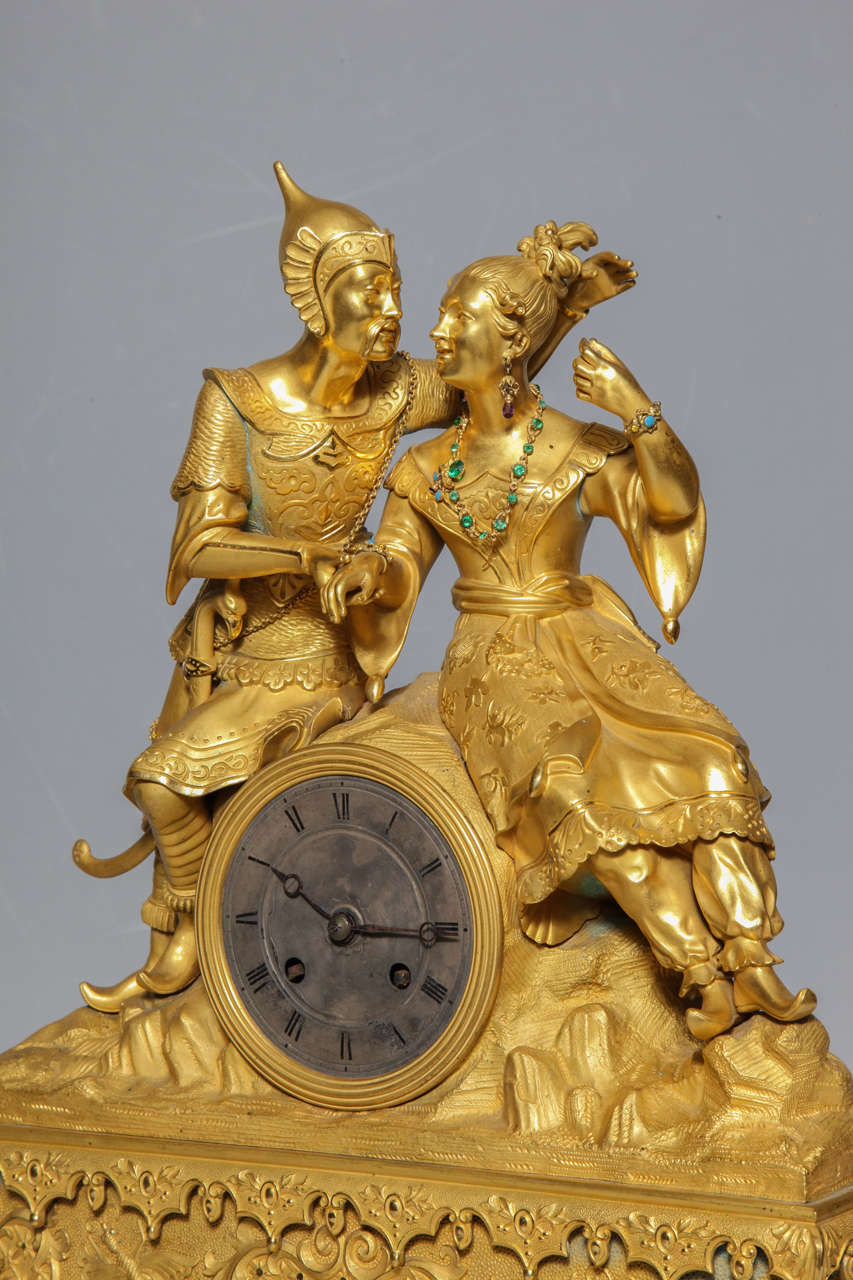 Unusual French Gilt Bronze Chinoiserie Clock of Lovers For Sale 3