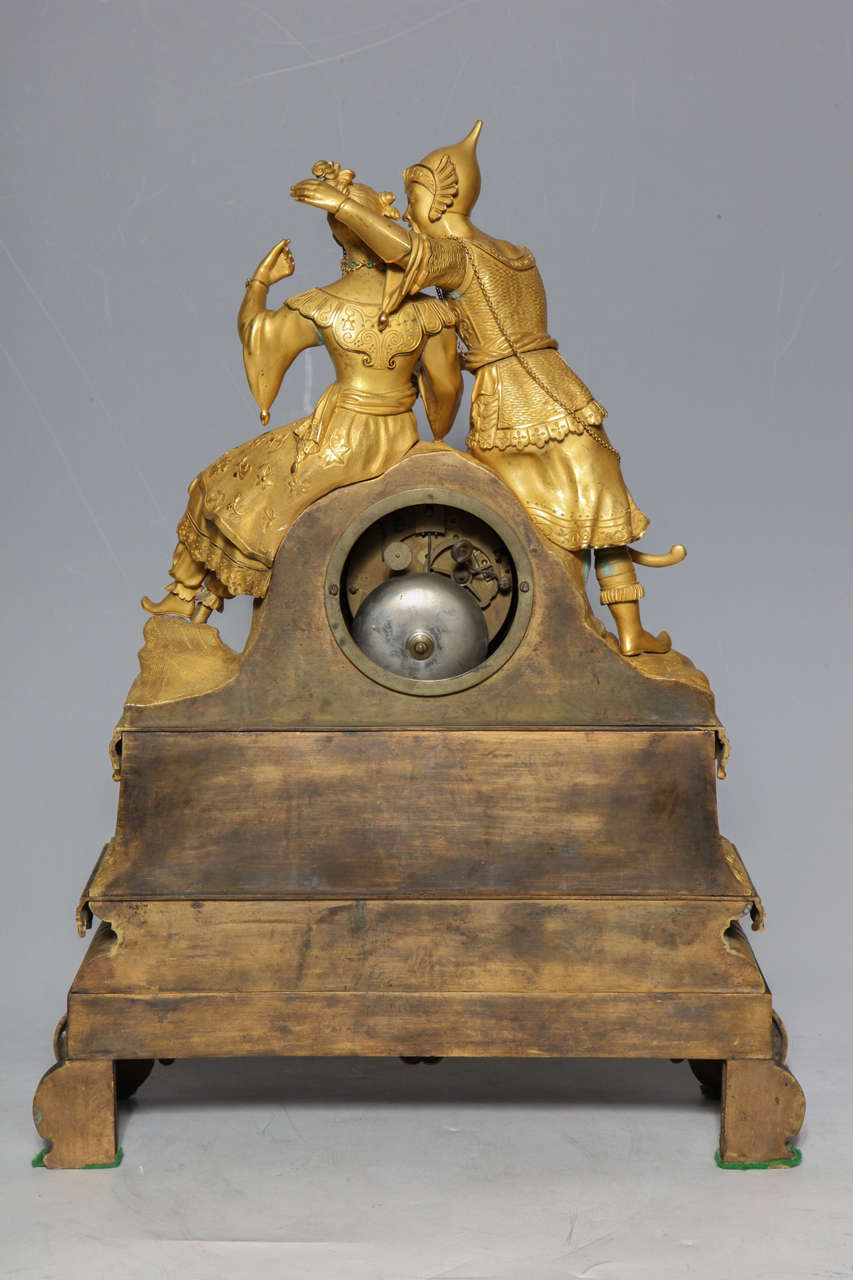 Unusual French Gilt Bronze Chinoiserie Clock of Lovers For Sale 4