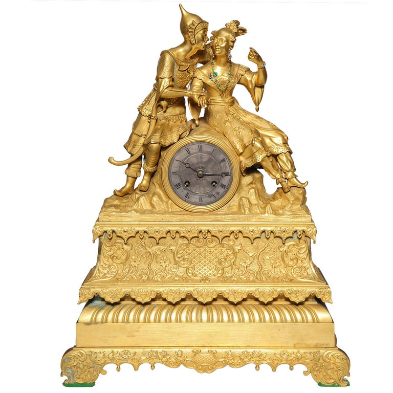 Unusual French Gilt Bronze Chinoiserie Clock of Lovers For Sale