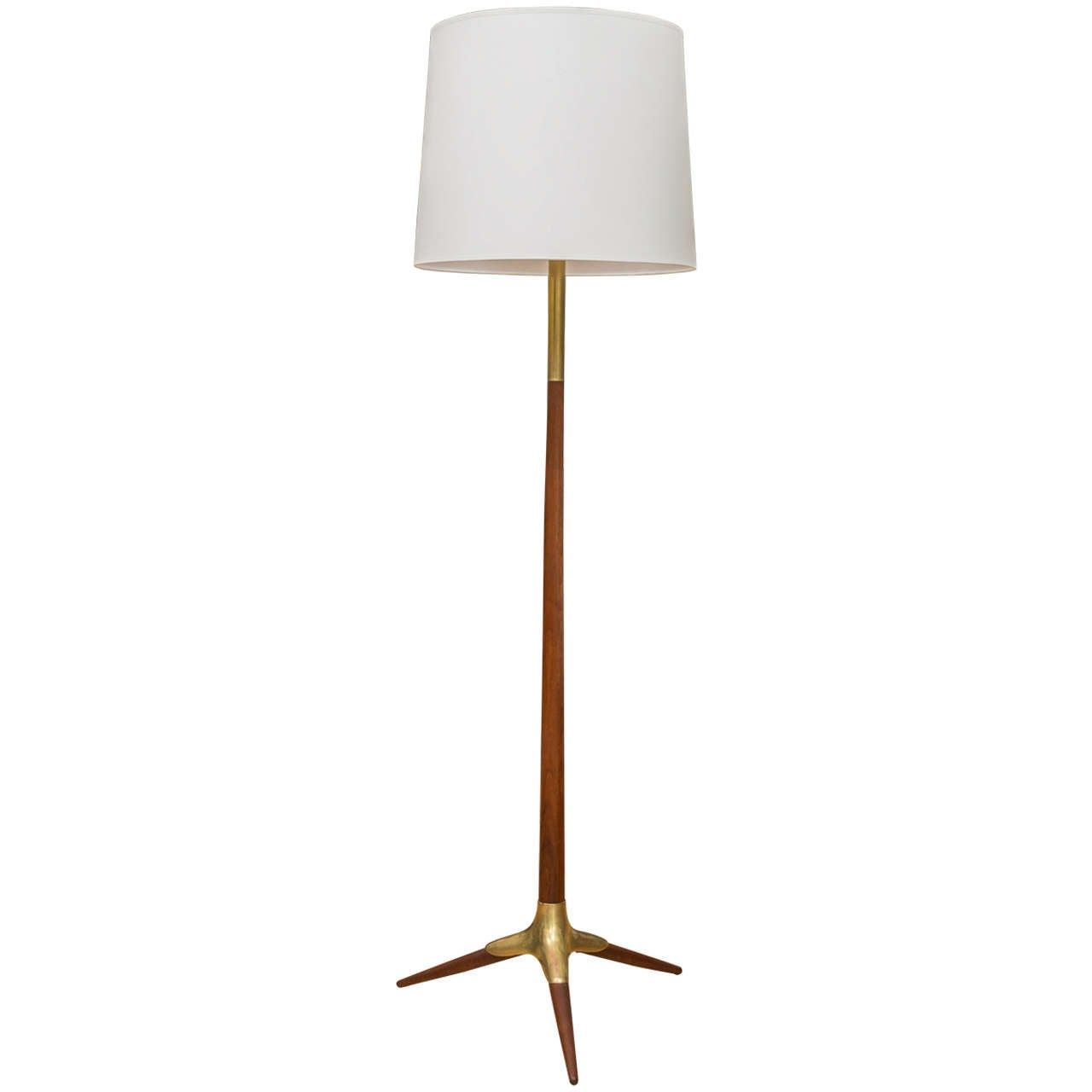 This pair of gerald thurston floor lamps is no longer available - Walnut And Brass Floor Lamp At 1stdibs