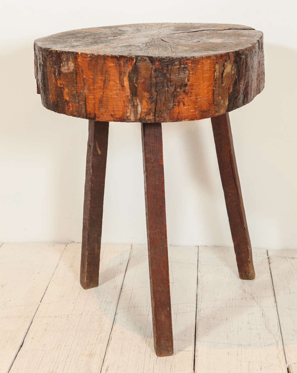 Rustic Wood Side Table ~ Rustic wood block tall side table at stdibs