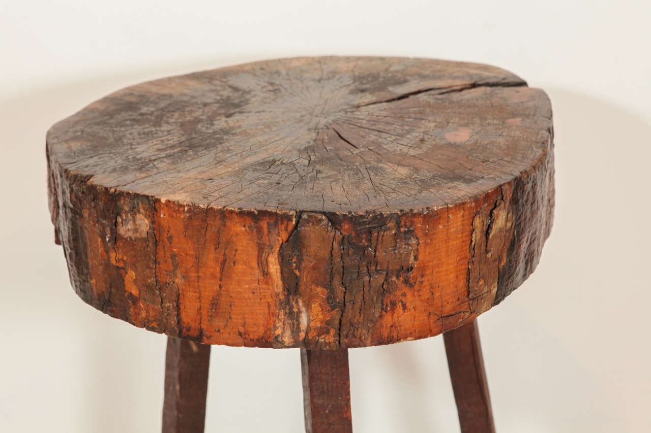Rustic wood block tall side table at stdibs
