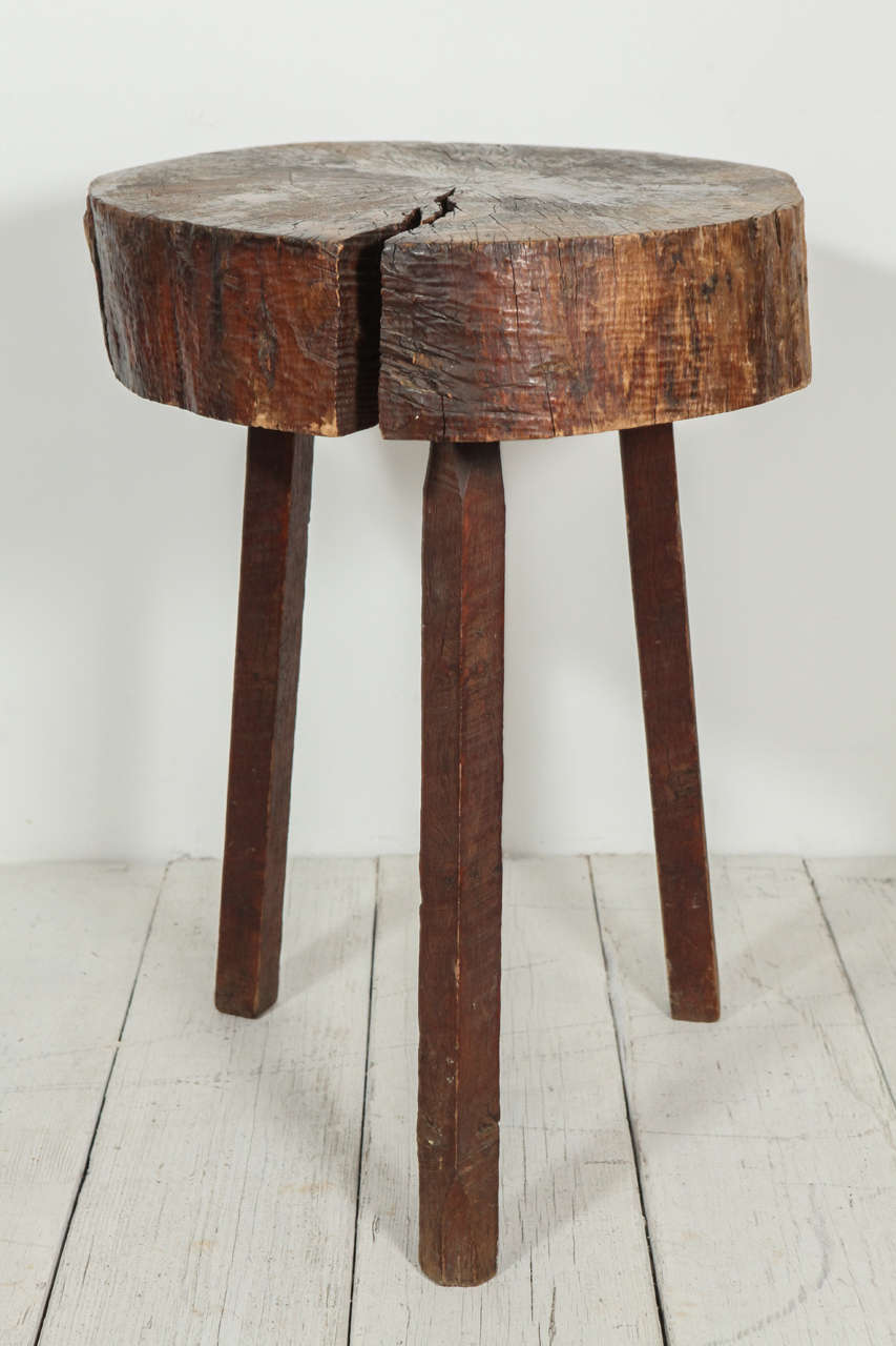Block Wood Side Table ~ Rustic wood block tall side table at stdibs