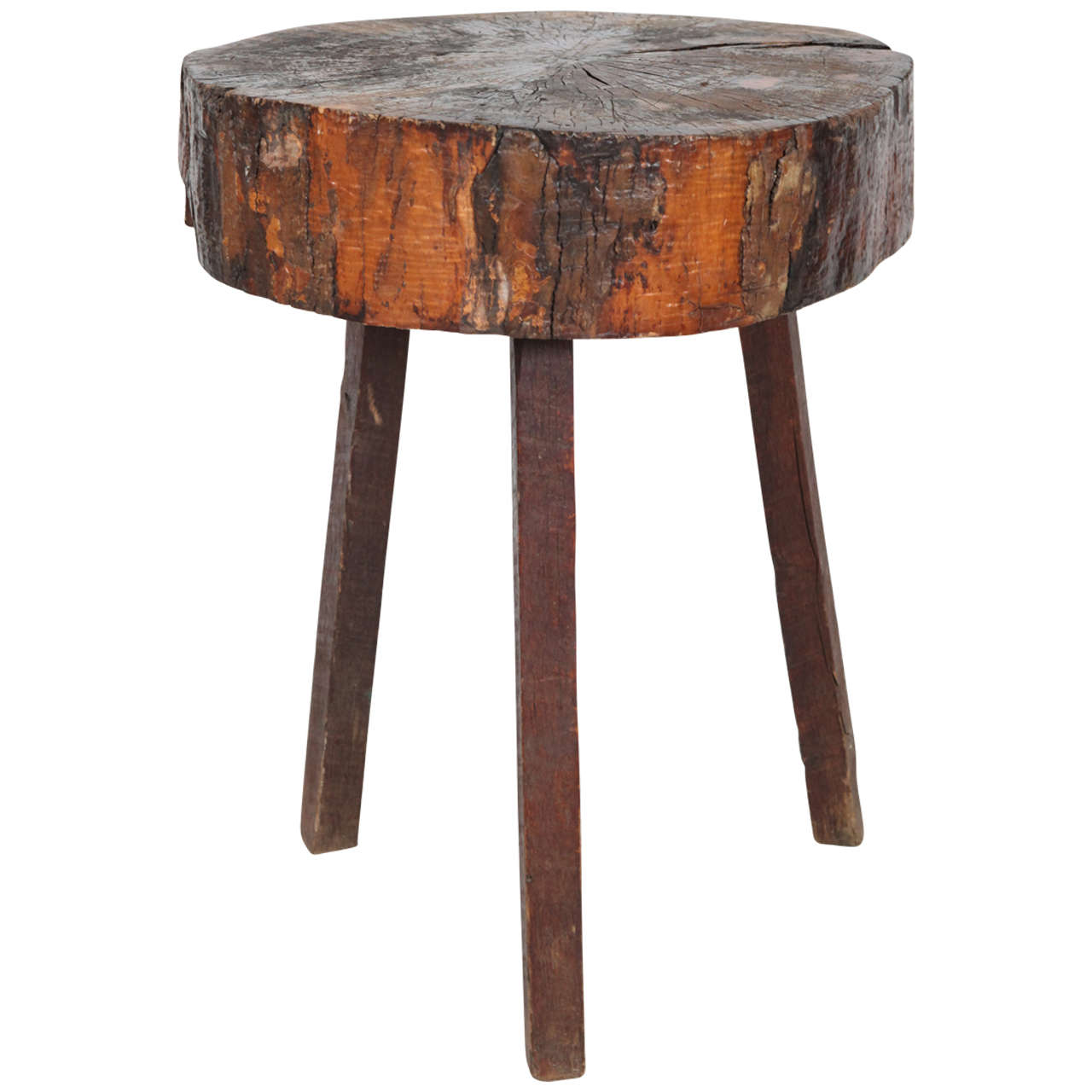 Rustic Wood Block Tall Side Table at 1stdibs