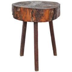 Rustic Wood Block Tall Side Table