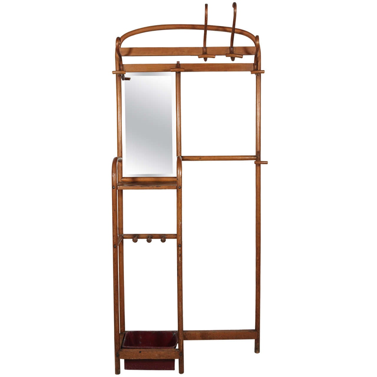 Bentwood Thonet Coat Rack And Umbrella Stand With Mirror For Sale