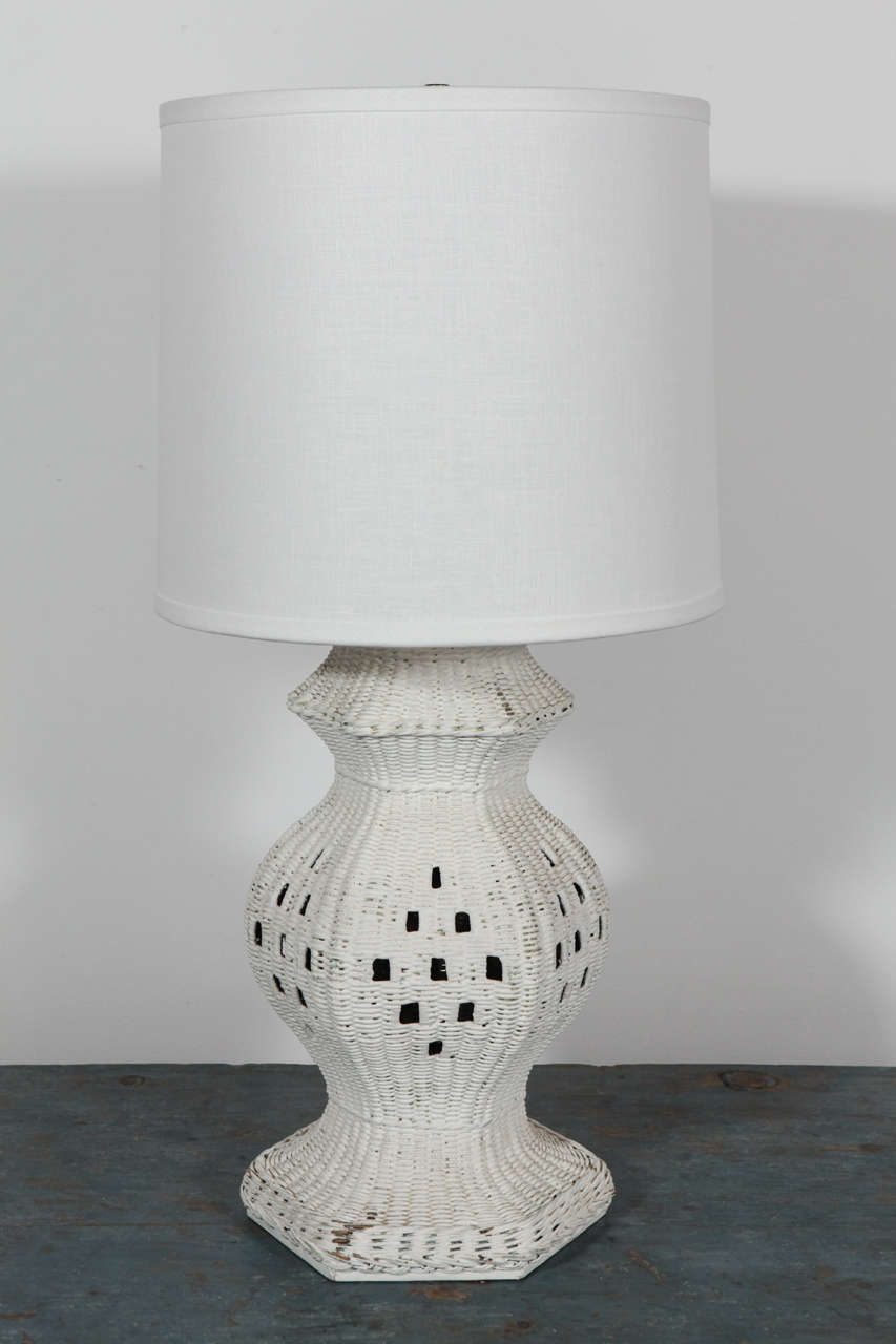 Painted White Wicker Hexagon Base Table Lamp At 1stdibs