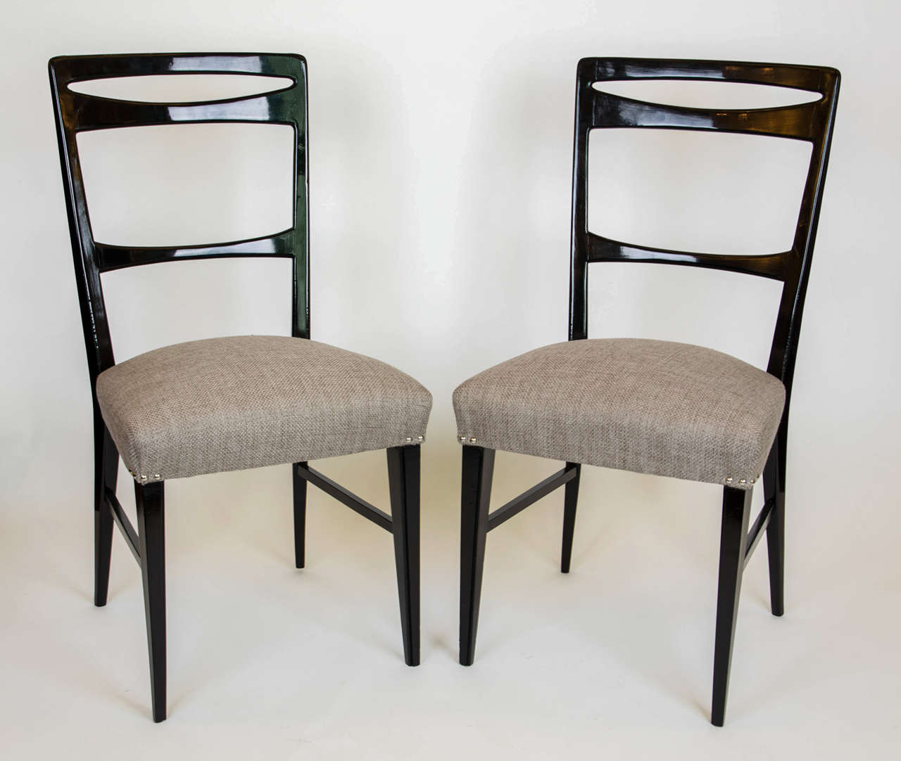1950s set of eight italian black lacquered dining chairs