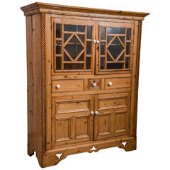 English Scrubbed Pine Cabinet