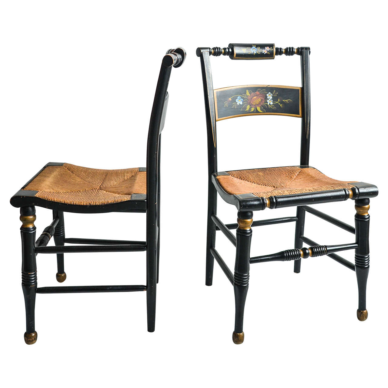 Pair Of Hitchcock Style Painted Rush Seat Chairs For Sale