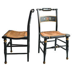 Pair of Hitchcock Style Painted Rush Seat Chairs
