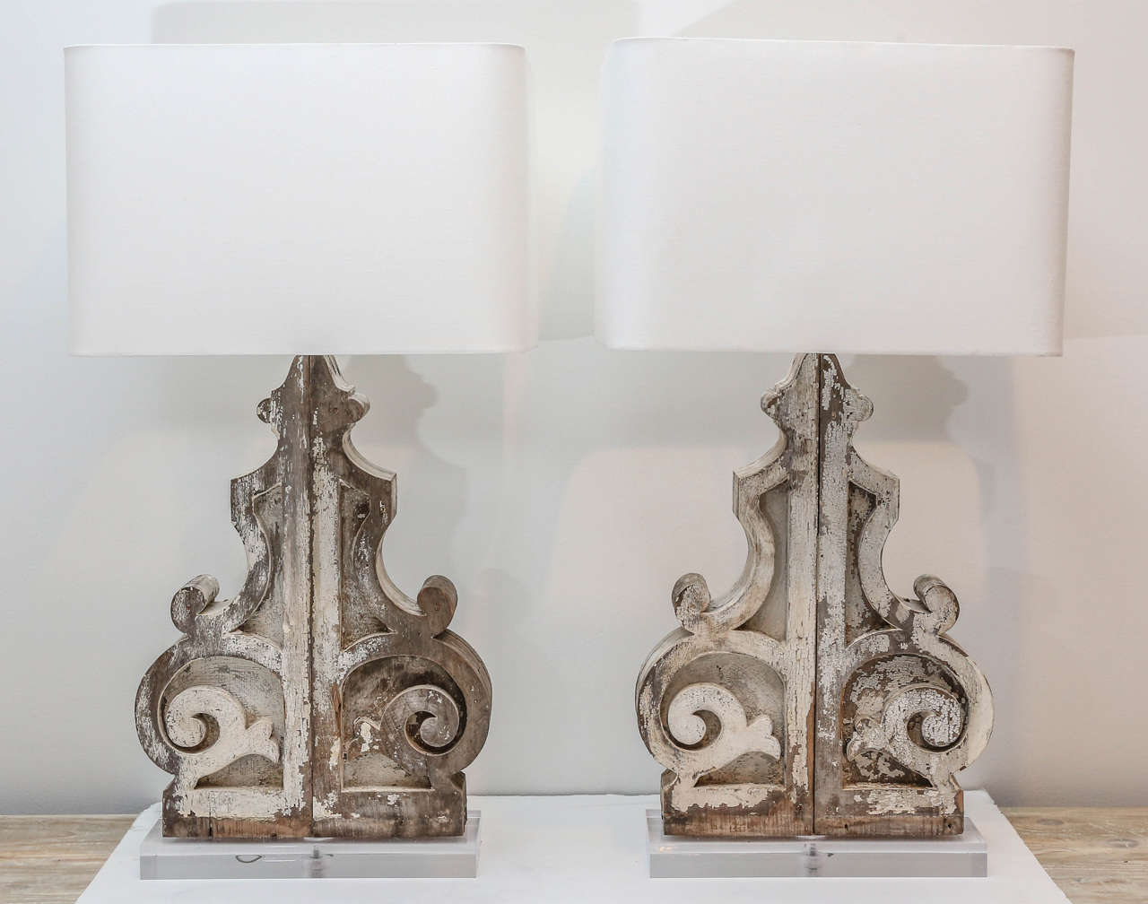 Pair of large custom table lamps from painted corbels at 1stdibs pair of large custom table lamps from painted corbels 2 geotapseo Gallery