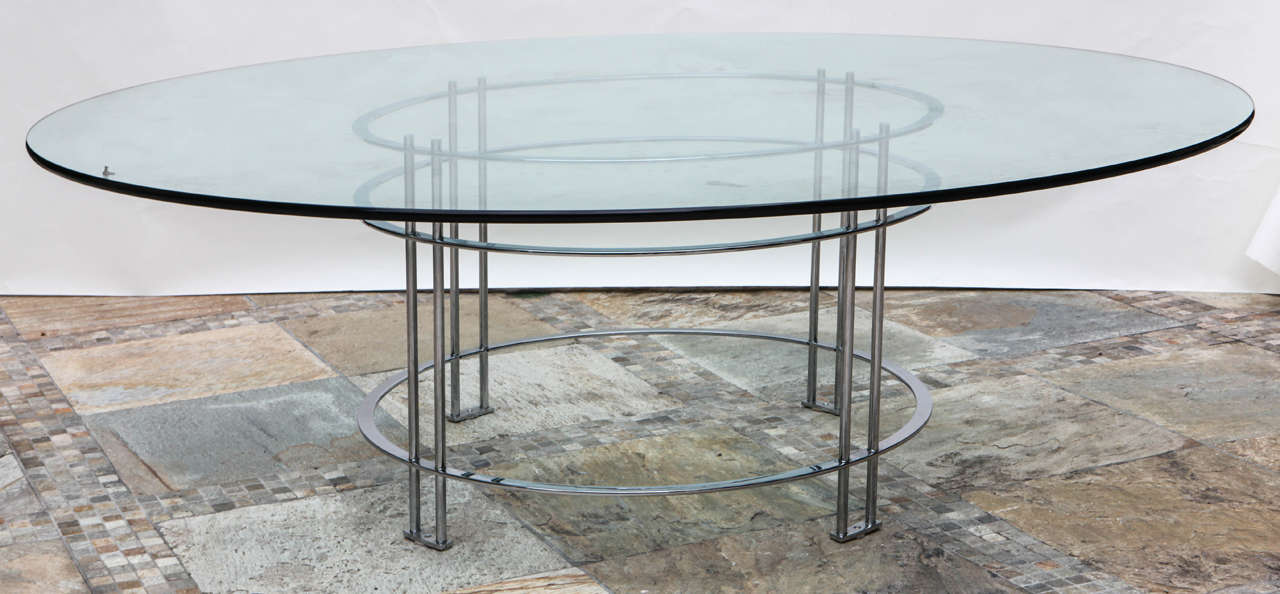 Vintage Round Dining Table with Glass Top For Sale 1
