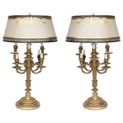 19th C French Marble And Bronze Dore Urn Lamps For Sale At