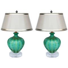 Pair Of Midcentury Italian Murano Teal Lamps