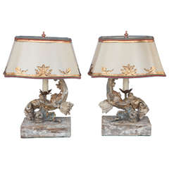19th Century Pair of Italian Antique Wood Fragment Lamps