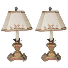Pair of 19th Century Italian Giltwood and Painted Candle Lamps
