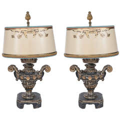 Pair of 19th Century Italian Carved Giltwood Urn Lamps