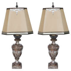 Pair of 19th Century Italian Silver Leaf Urn Lamps