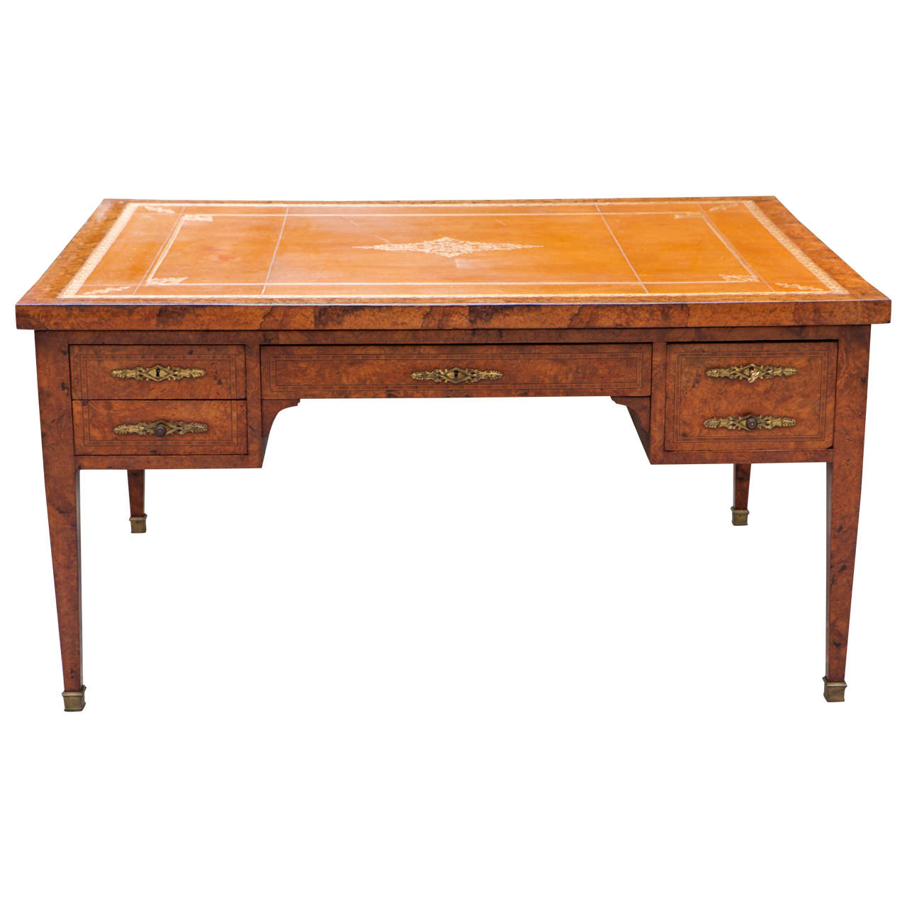 19th Century French Burled Walnut Partners Desk with Leather Top