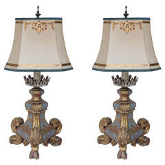 Pair of 19th Century Italian Giltwood Lamps
