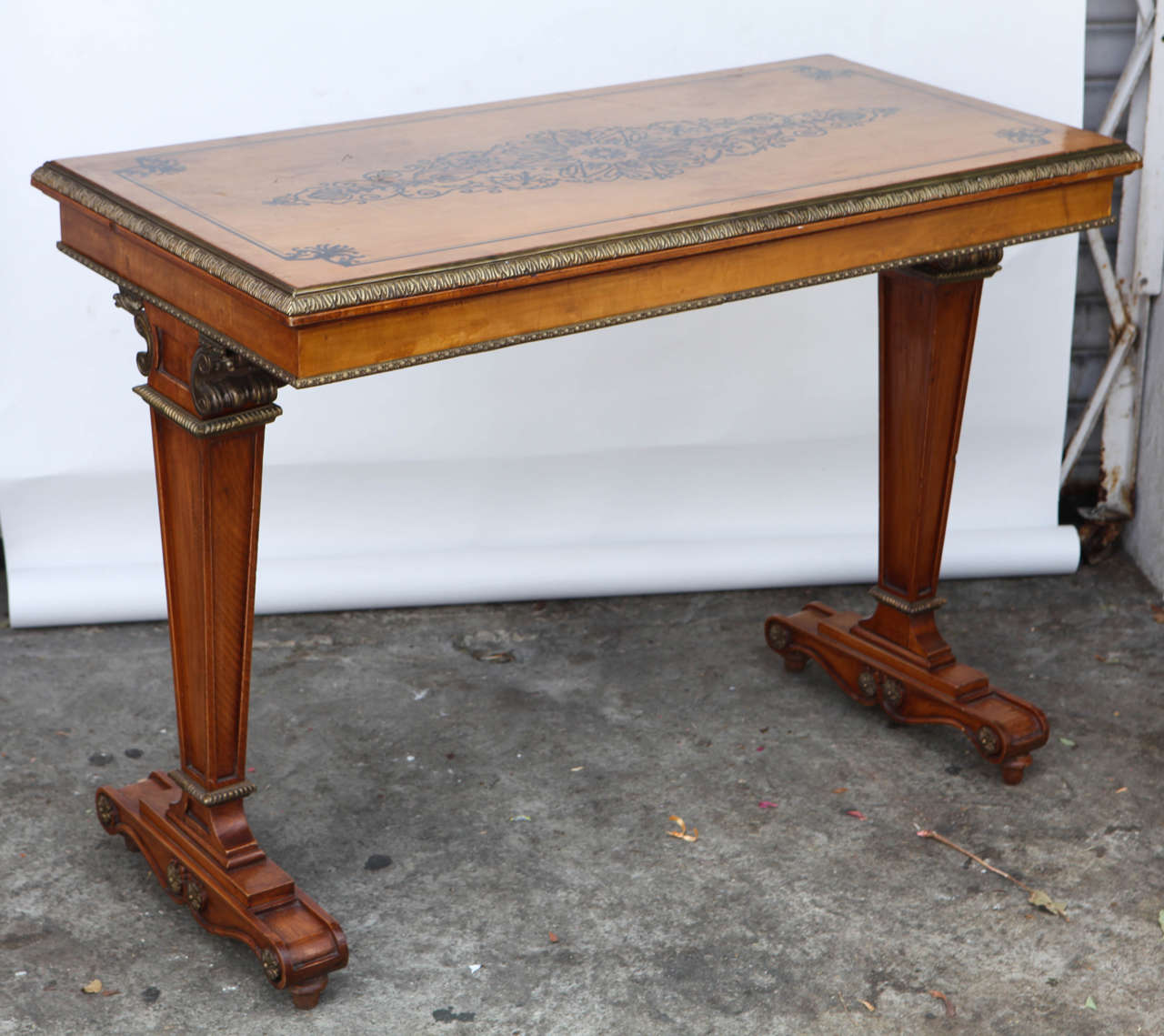1940's Vintage French Satinwood Console/Sofa Table with Inlay and Bronze Mounts.