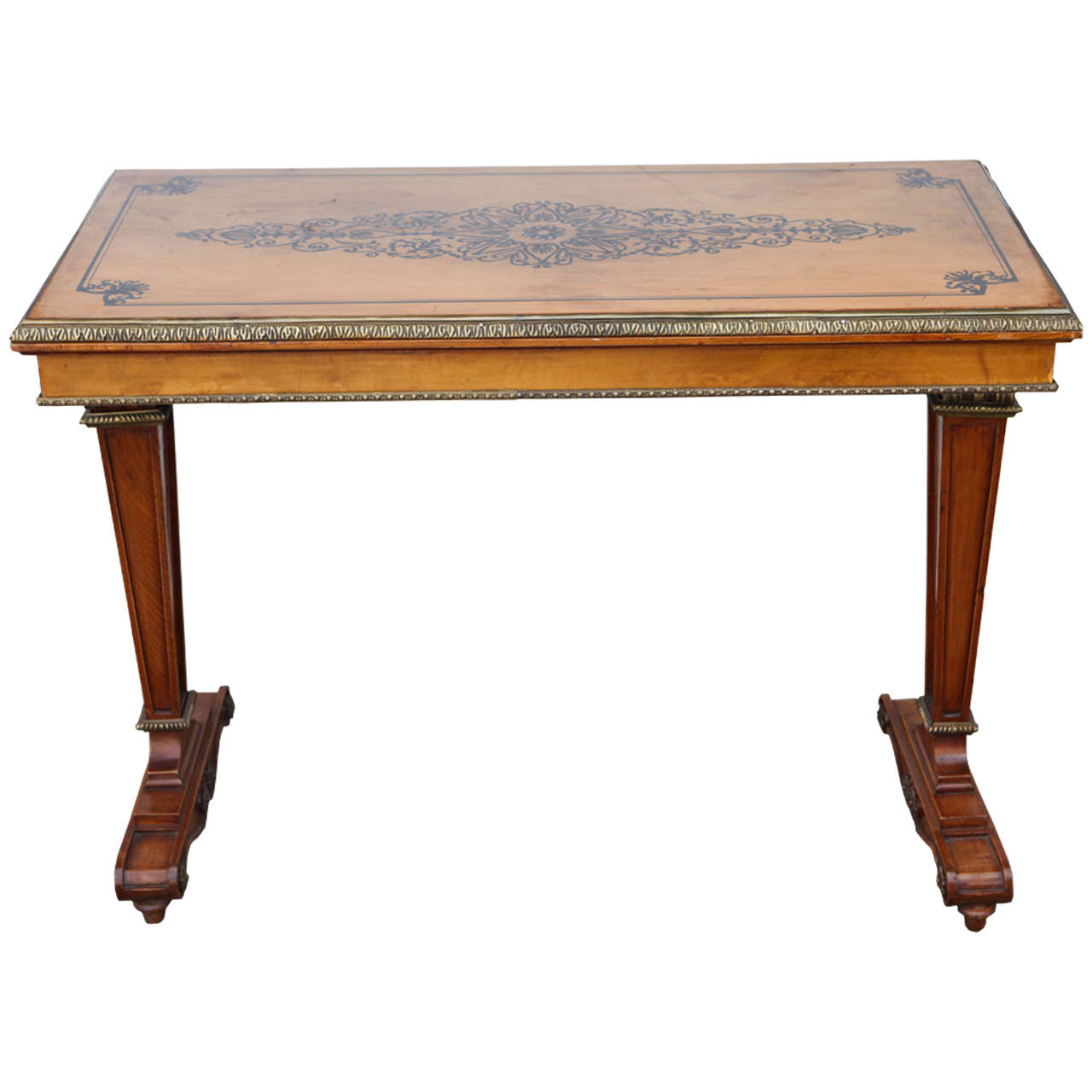 1940s French Satinwood Console Table with Inlay For Sale