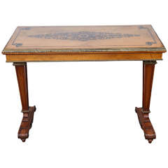 1940s French Satinwood Console Table with Inlay