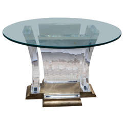 Midcentury Bronze and Lucite Base Pedestal Table