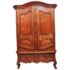 18th Century French Walnut Monumental Armoire with Single Drawer
