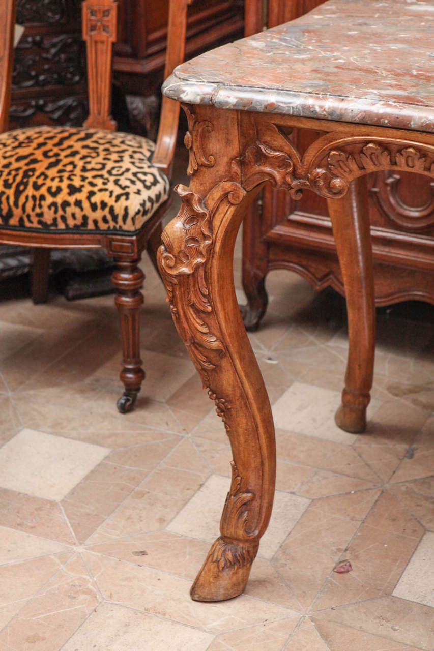 Late 18th Century French Carved Walnut Table with Original Marble Top For Sale 1