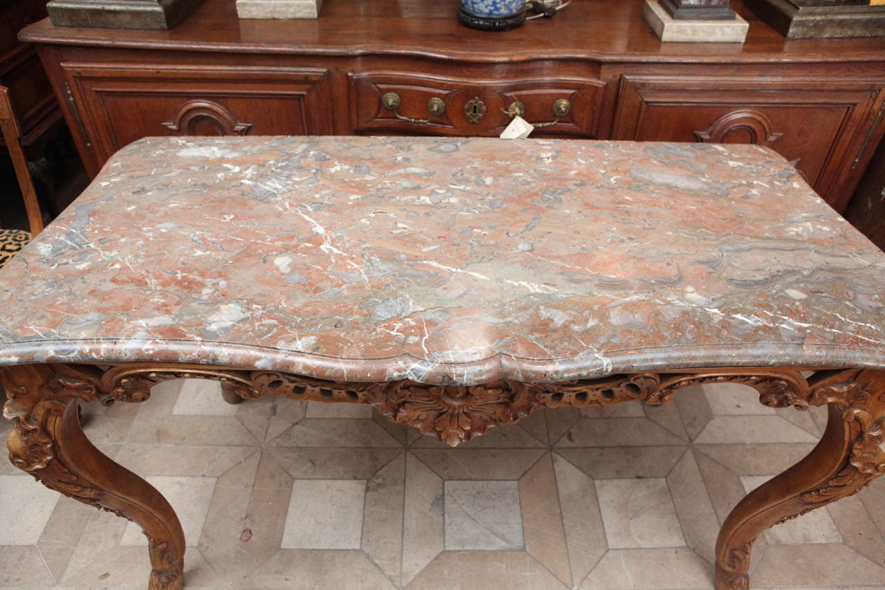 Late 18th Century French Carved Walnut Table with Original Marble Top For Sale 2