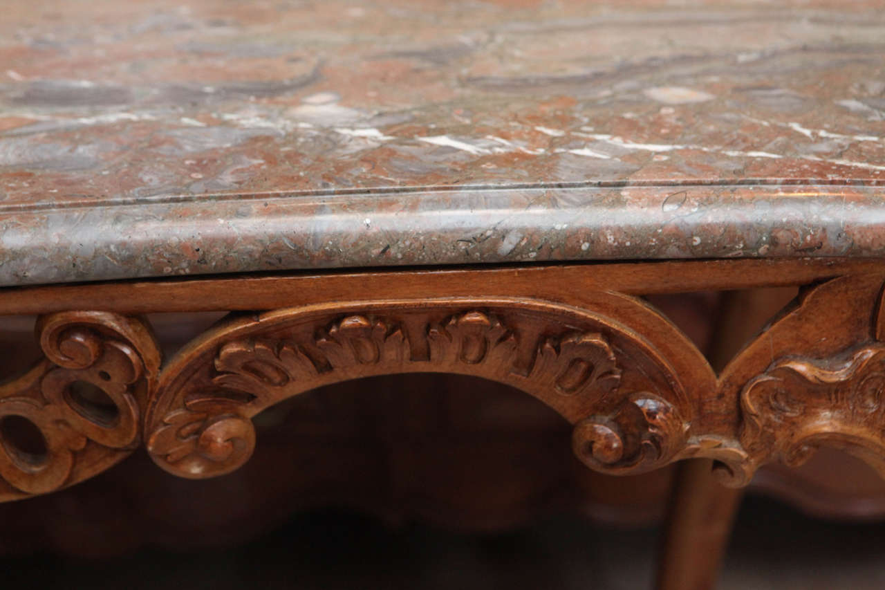 Late 18th Century French Carved Walnut Table with Original Marble Top For Sale 5