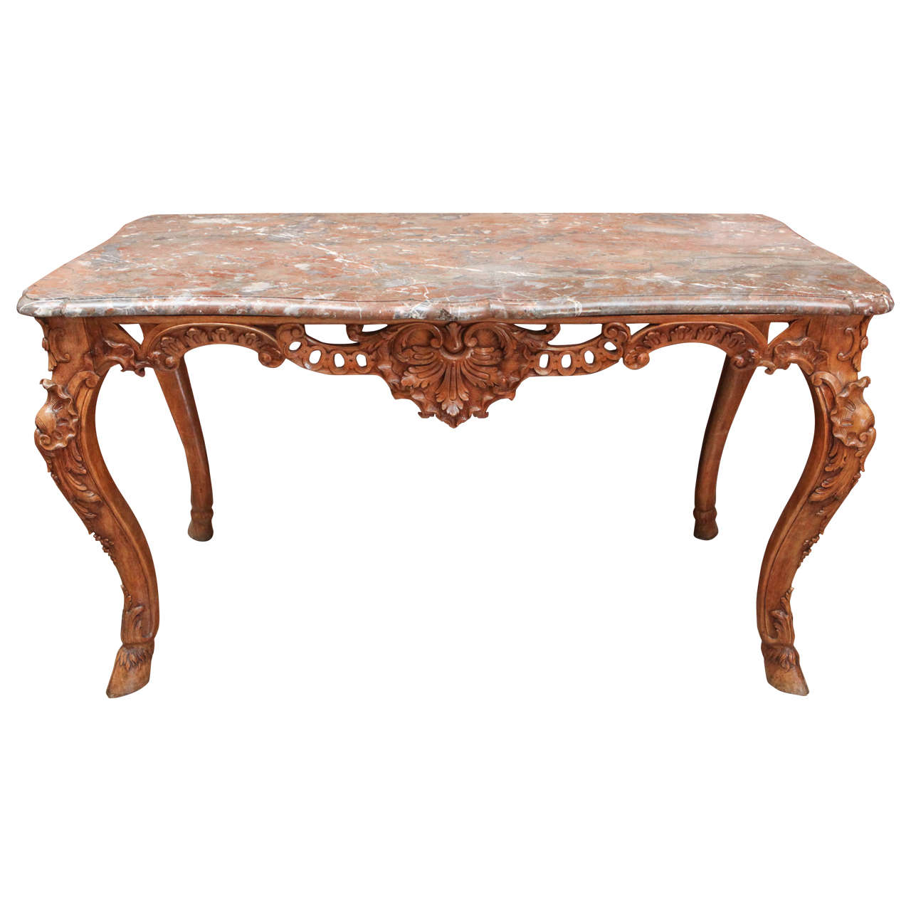 Late 18th Century French Carved Walnut Table with Original Marble Top For Sale
