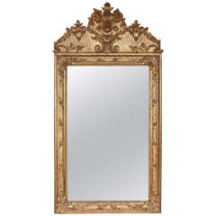 19th Century French Carved and Gilded Mirror with Crested Top