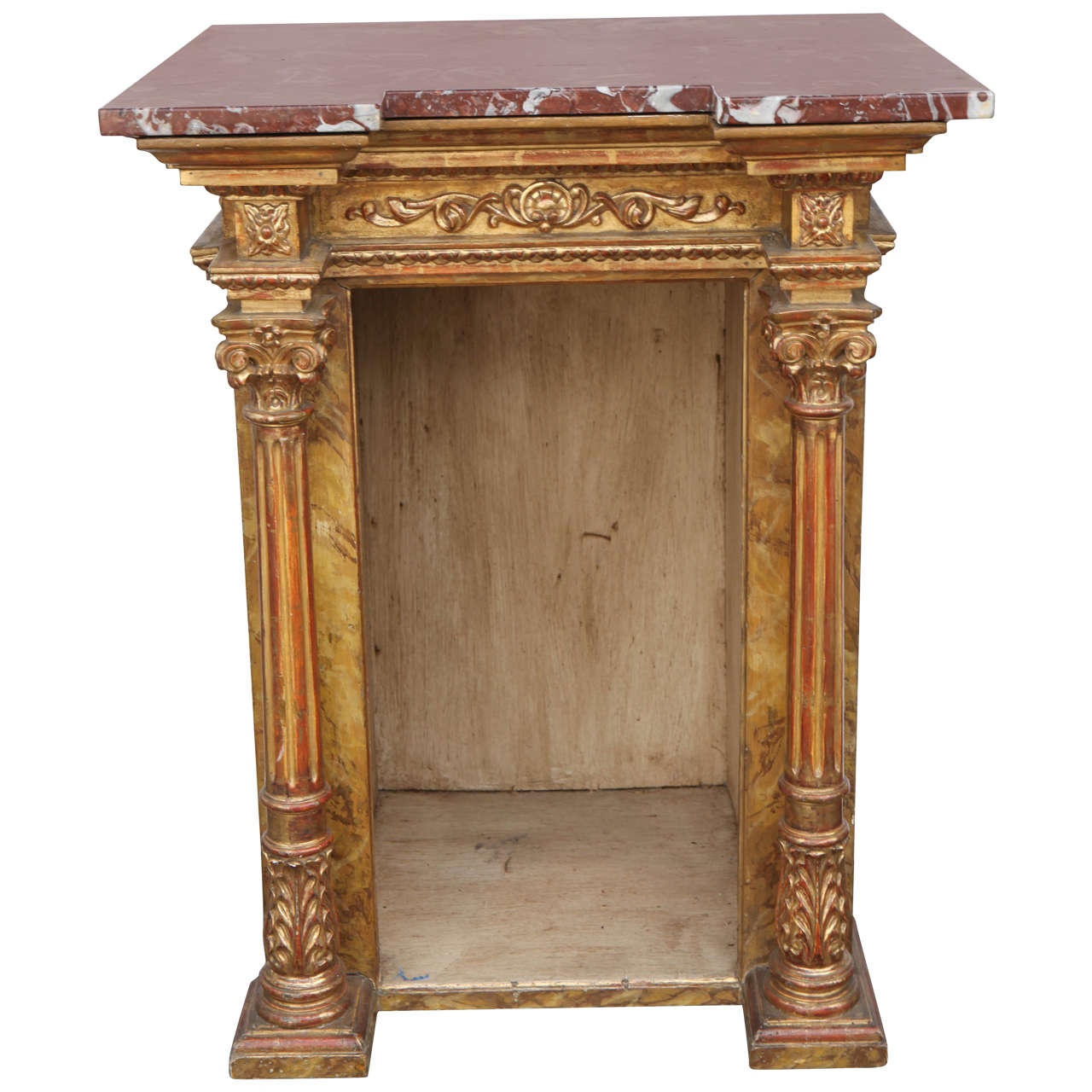 19th Century Italian Giltwood Display Table with Marble Top