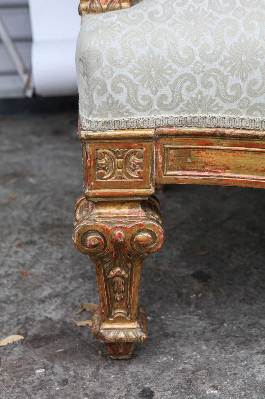 Pair of 19th Century Italian Giltwood Oversized Balloon Back Armchairs For Sale 1