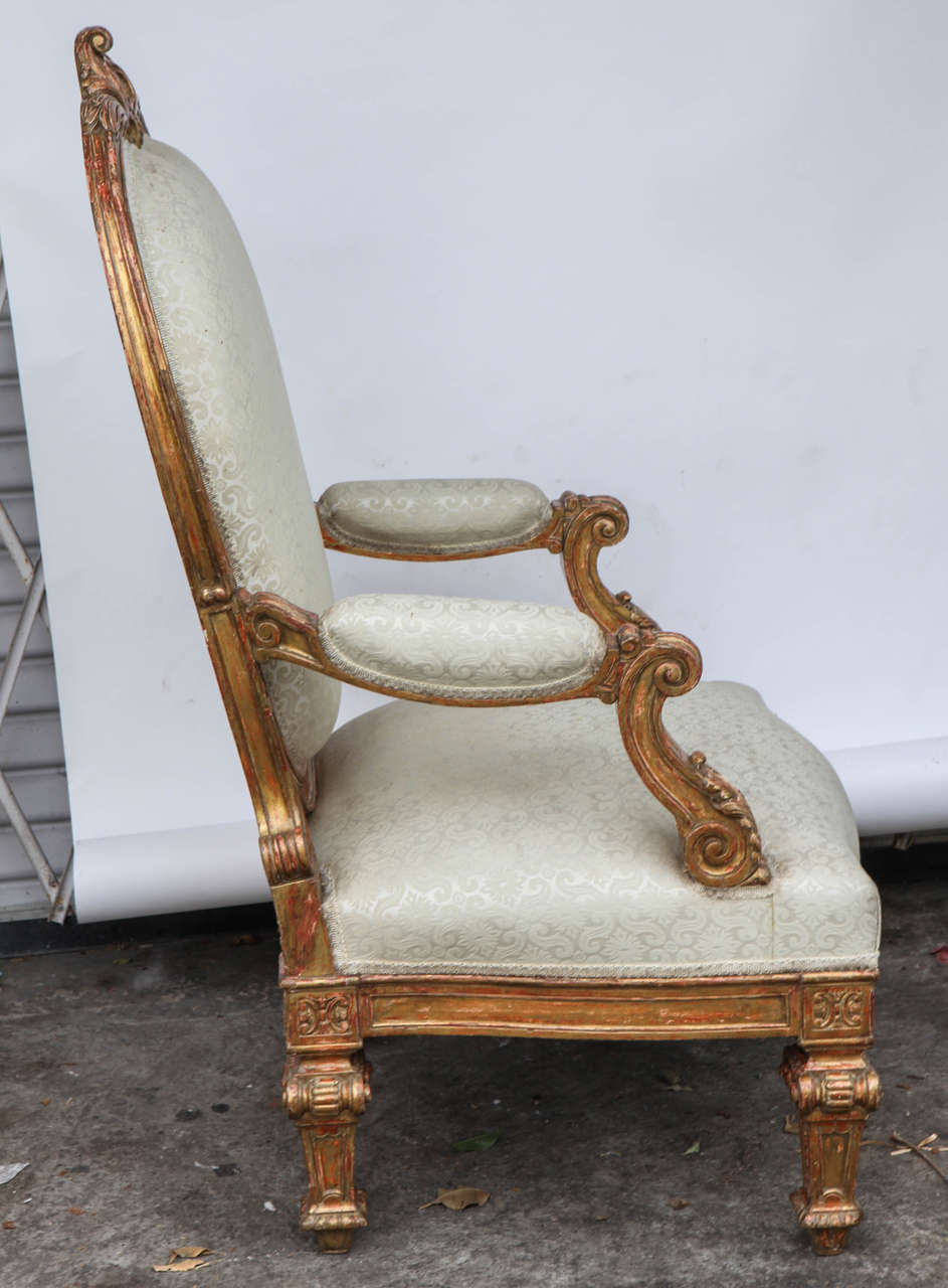 Pair of 19th Century Italian Giltwood Oversized Balloon Back Armchairs For Sale 2