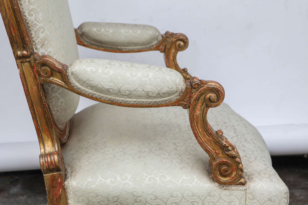 Pair of 19th Century Italian Giltwood Oversized Balloon Back Armchairs For Sale 3